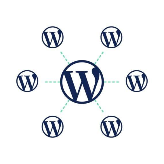Visuele weergave van een WordPress multisite