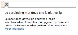 Chrome waarschuwing melding HTTP