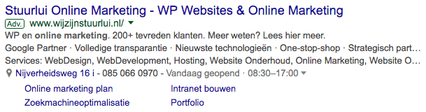 Extensies in Google Adwords