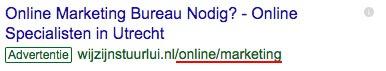 Zoekwoorden in je display URL: rood onderstreept