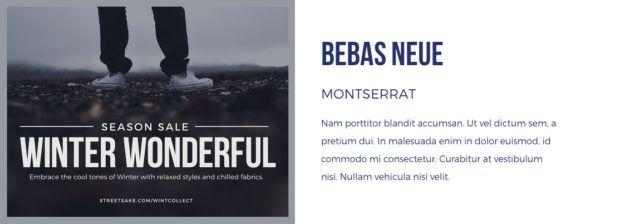 lettertype combinatie Bebas Neue en Montserrat