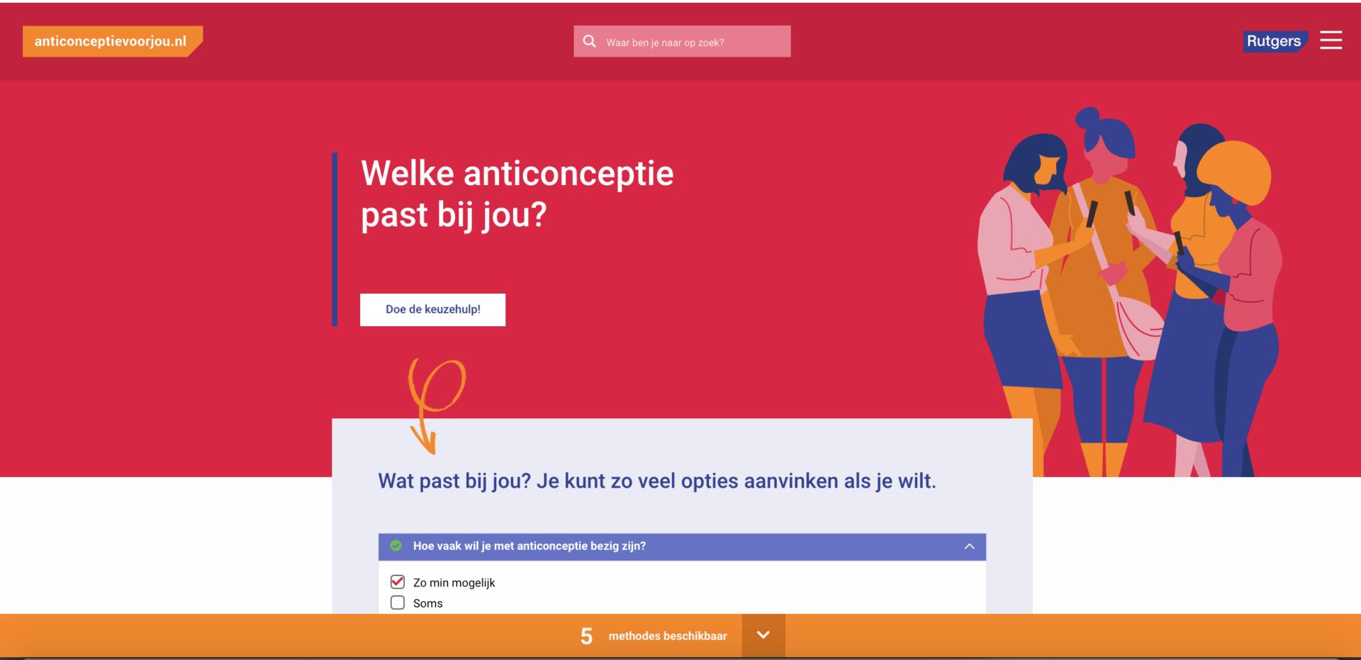 Screenshot 1 van anticonceptievoorjou.nl, website voor Rutgers, gebouwd Stuurlui fullservice WordPress bureau