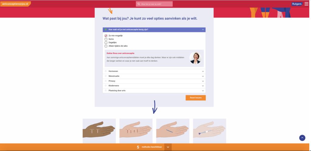 Screenshot 2 van anticonceptievoorjou.nl, website voor Rutgers, gebouwd Stuurlui fullservice WordPress bureau