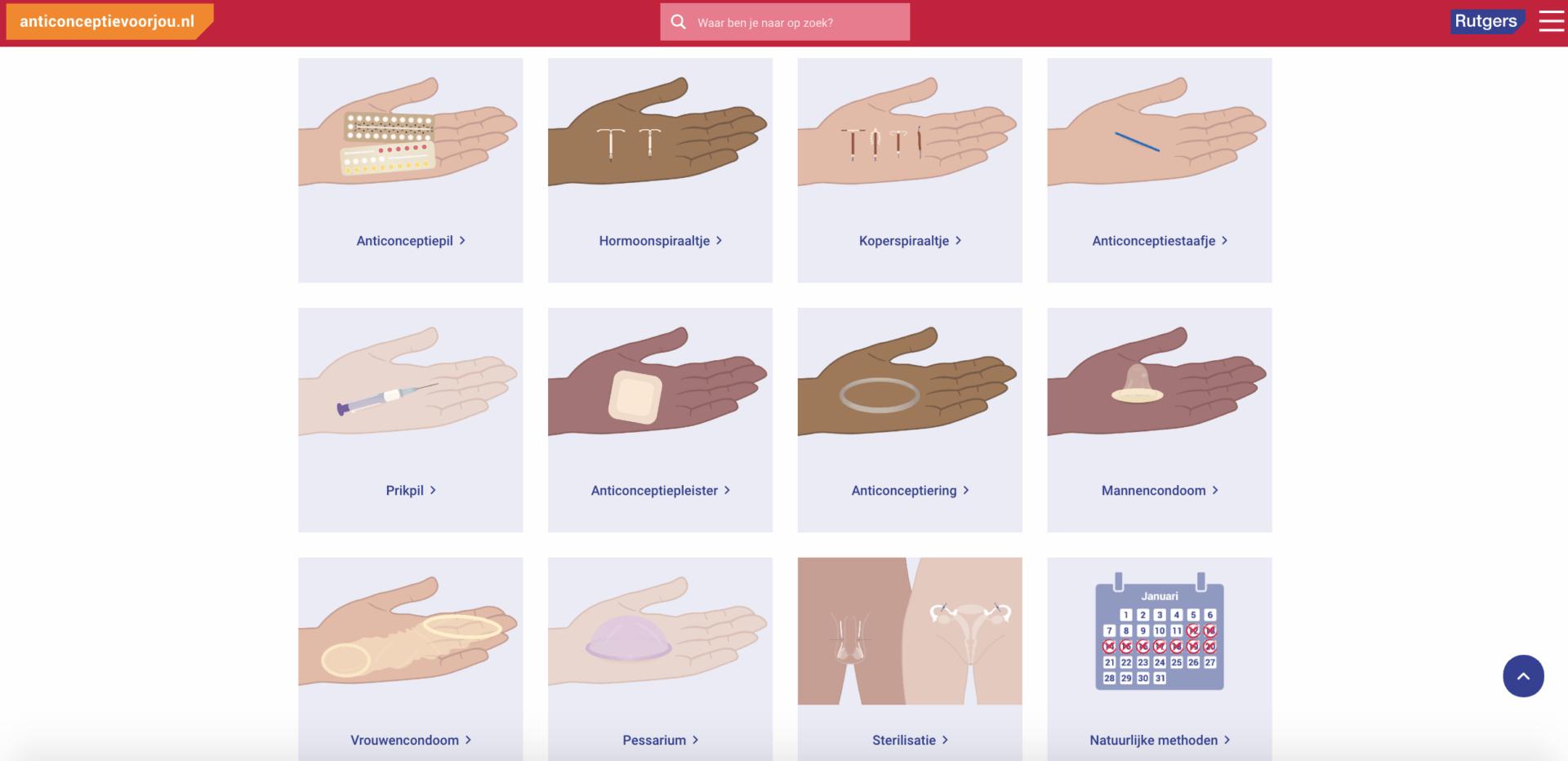 Screenshot 3 van anticonceptievoorjou.nl, website voor Rutgers, gebouwd Stuurlui fullservice WordPress bureau