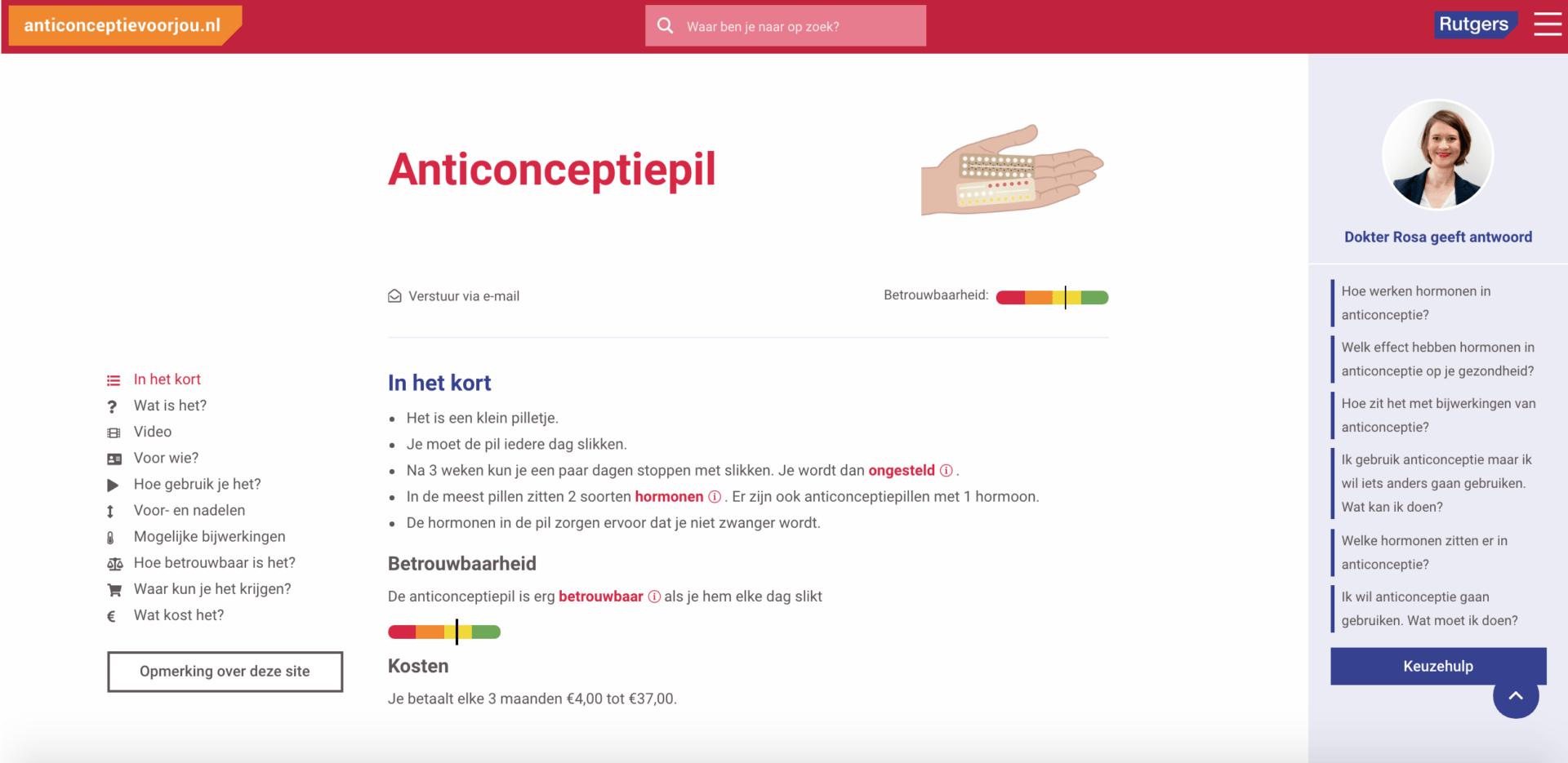 Screenshot 4 van anticonceptievoorjou.nl, website voor Rutgers, gebouwd Stuurlui fullservice WordPress bureau