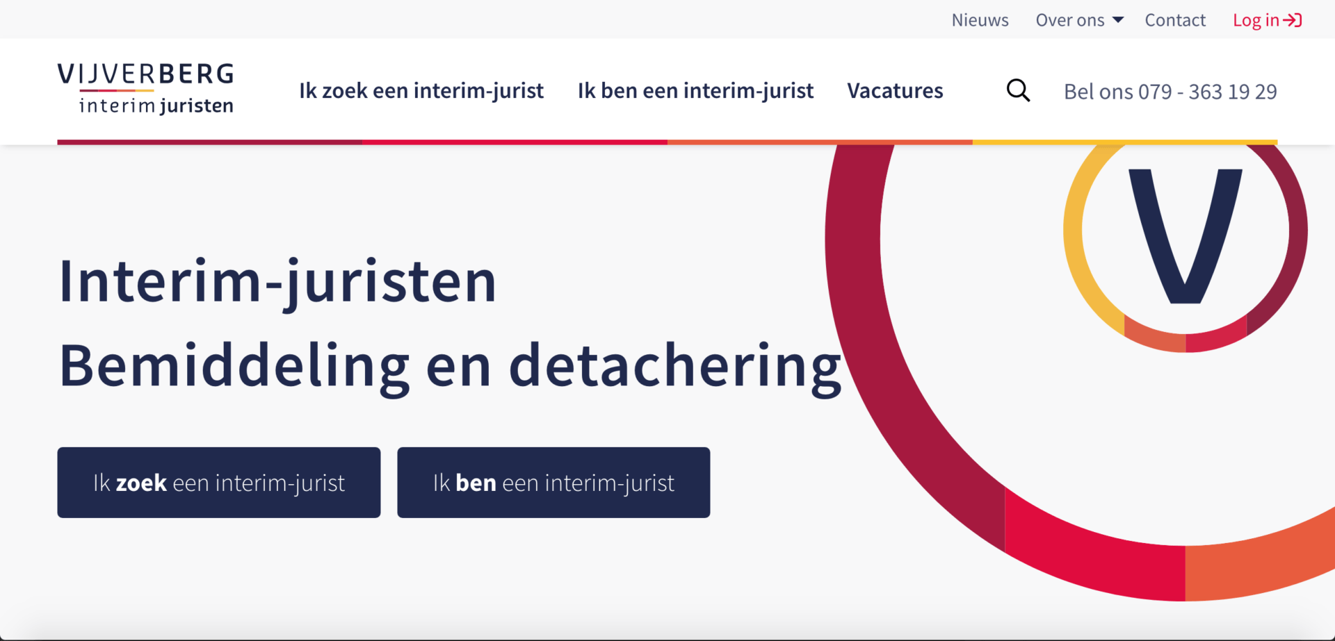 Vijverberg interim juristen vacature website screenshot 1