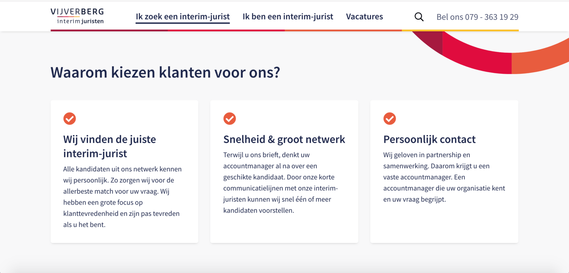 Vijverberg interim juristen vacature website screenshot 3
