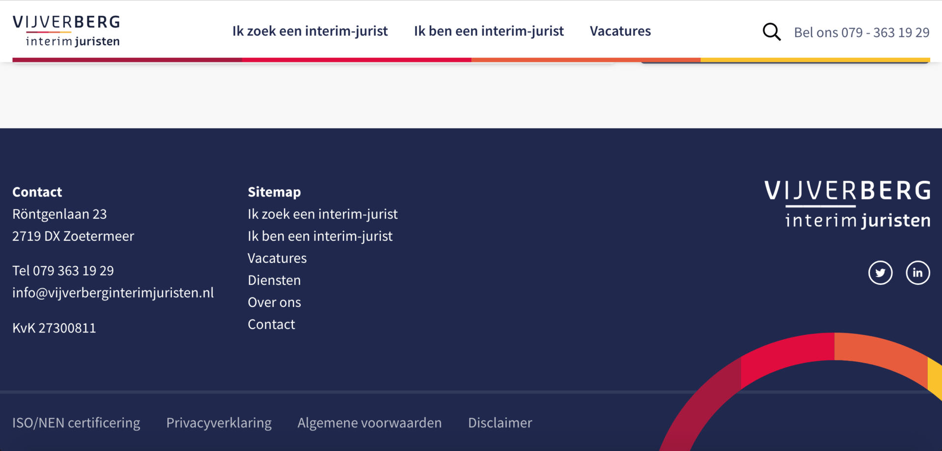 Vijverberg interim juristen vacature website screenshot 4