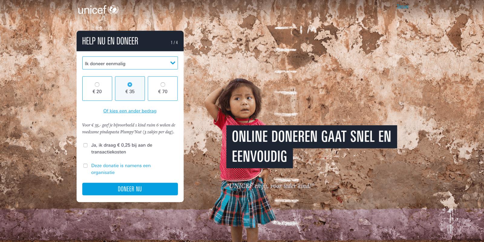 Gebruiksvriendelijk donatieformulier Unicef stap 1