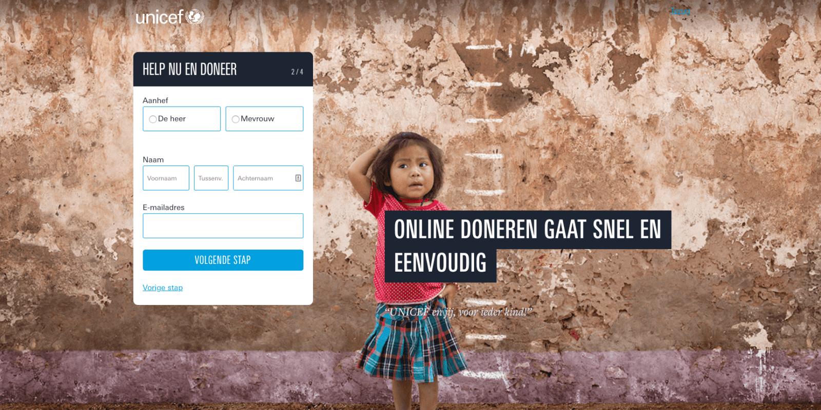 Gebruiksvriendelijk donatieformulier Unicef stap 2