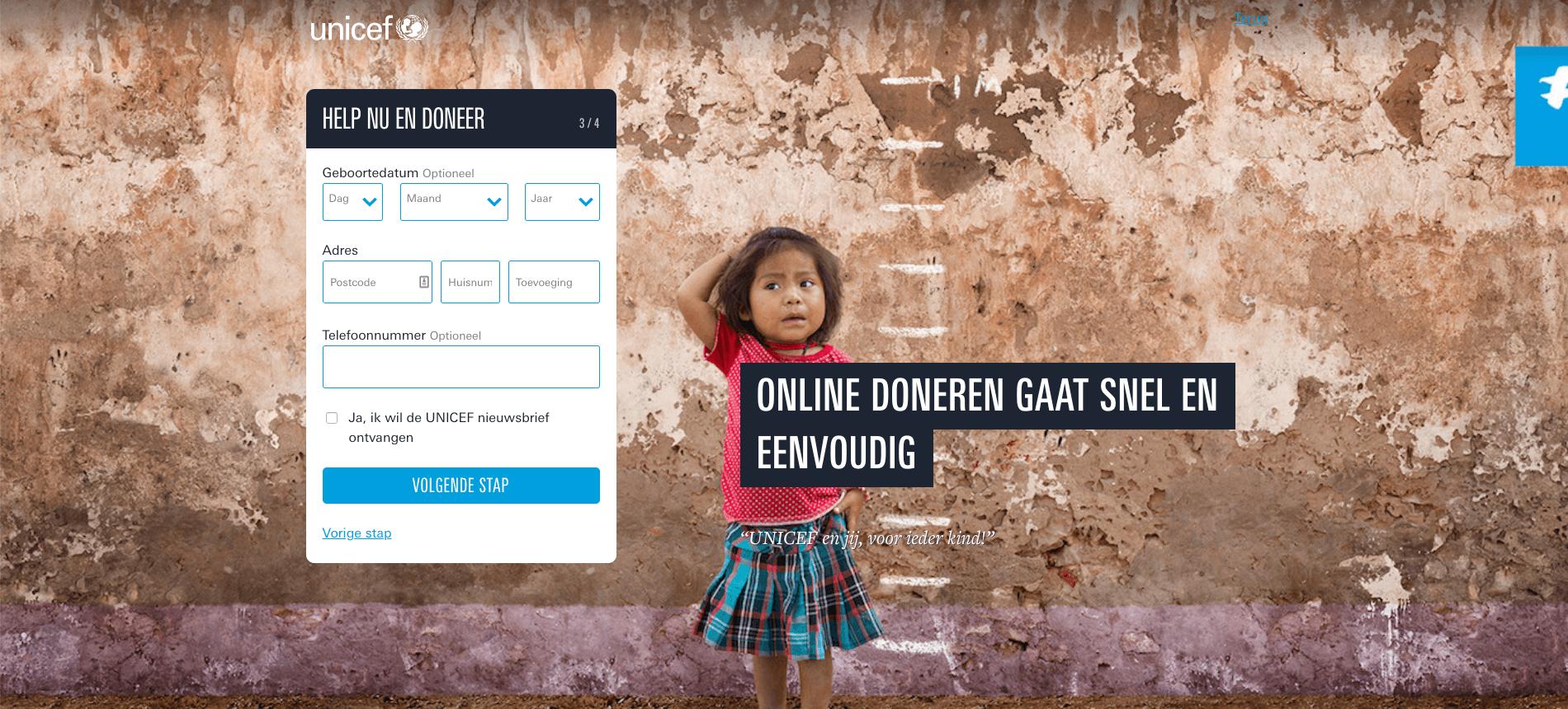 Gebruiksvriendelijk donatieformulier Unicef stap 3