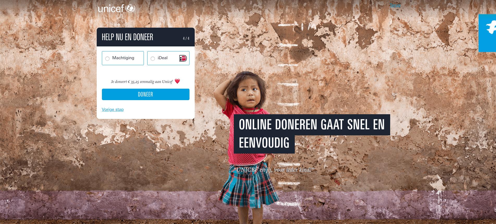 Gebruiksvriendelijk donatieformulier Unicef stap 4