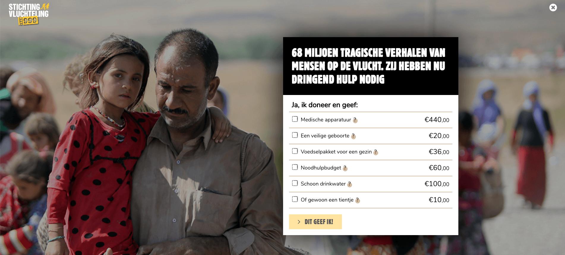 Voorbeeld Stichting Vluchteling gebruiksvriendelijk donatieformulier