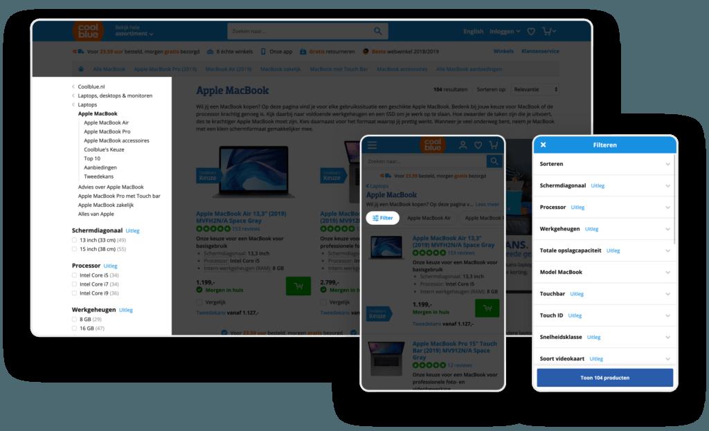 Voorbeeld filtering Coolblue (desktop & mobiel).
