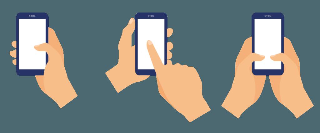 De drie meest voorkomende vormen voor het hanteren van onze mobiel.