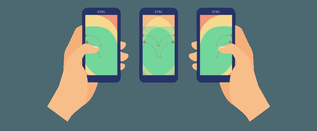 Heatmap rechts- en linkshandige mobiele gebruikers.