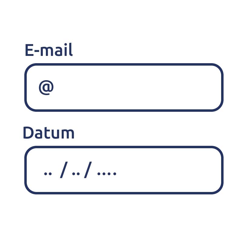 Geef formuliervelden de juiste invoertypes