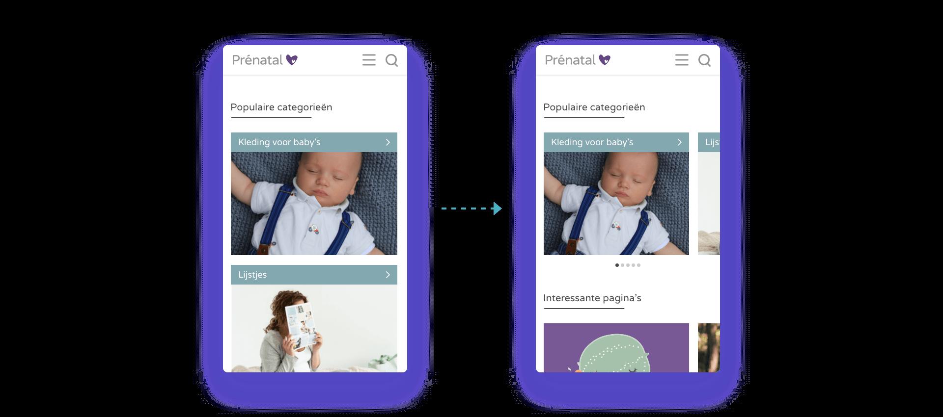 Ruimte besparen voor de blog website van Prenatal