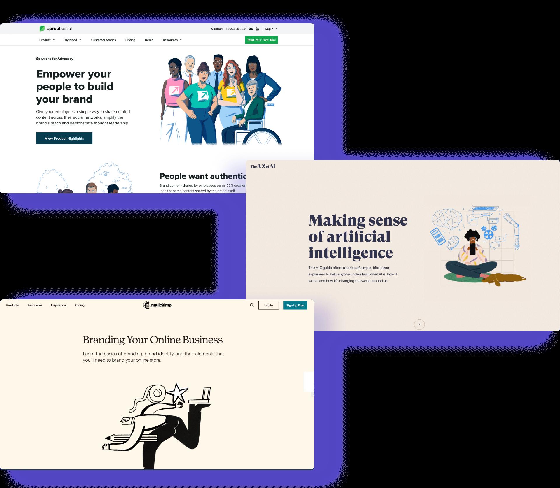 Webdesign trend 2: Drie voorbeelden van bekende websites met een goede typografie en unieke illustratiestijl.